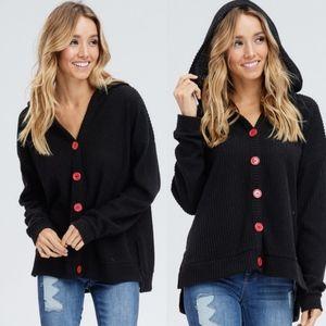 AMBER Knit Hoodie Top - BLACK